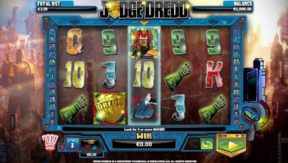 Judge Dredd slot gameplay